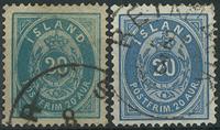 Island 1882 - AFA nr. 14+14a.