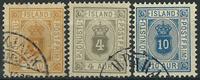 Island 1898-1900 - AFA nr. 3B + 5B + 9B - Tjenestemærker -  Stemplet