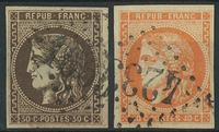France 1870 - AFA no. 42-43 - cancelled
