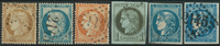 France 1870-71 - AFA no. 33-36 + 44II+III - cancelled