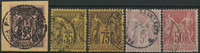 France 1877-1900 - 5 cancelled Pax and Mercury