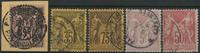 Frankrig 1877-1900 - 5 stemplede Pax og Merkur