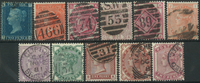 Great Britain 1841-81 - 11 cancelled stamps