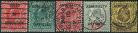 Great Britain 1901-03 - AFA no. 1-2 + 4 + 6 + 18 -  cancelled
