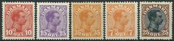 Danmark 1913-20 - 5 postfriske Chr. X.