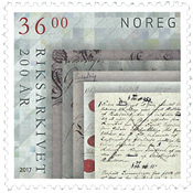 Norway - National Archives 200 years - Mint stamp