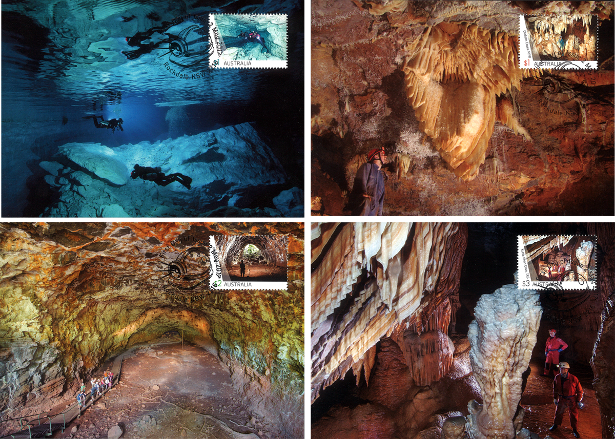 Australien - Grotter - Flot sæt maximumkort
