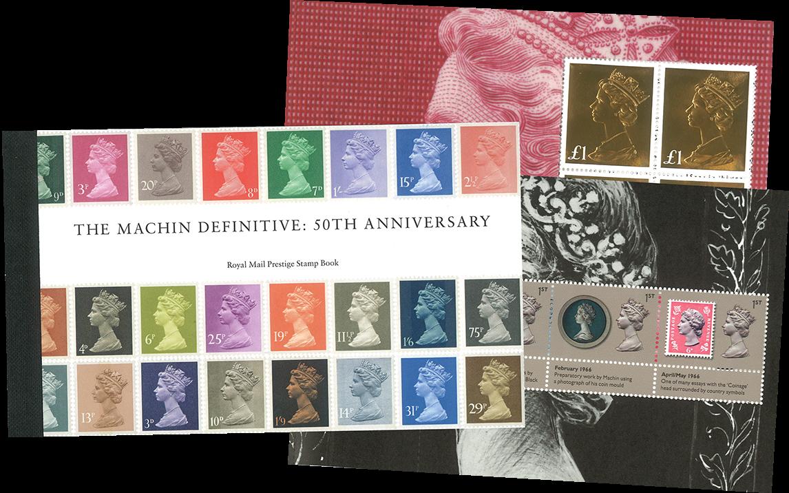 England - 50-året for Machin dagligmærker - Postfrisk flot prestigehæfte