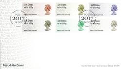England - 50-året for Machin dagligmærker - Førstedagskuvert med frankeringsmærker
