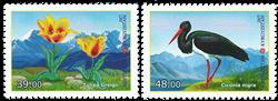 Kirgisistan - Sort stork og tulipan - Postfrisk sæt 2v