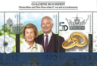 Liechtenstein - Noces d'or du couple royal - Bloc-feuillet neuf