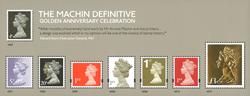 England - 50-året for Machin dagligmærker - Postfrisk miniark med guld