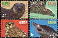 Rumænien - Truede dyr fællesudg. med FN - Postfrisk sæt 4v