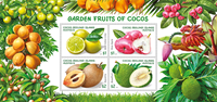 Coco Islands - Garden Fruits - Mint souvenir sheet