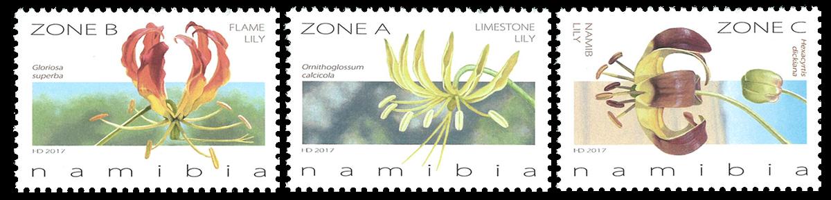 Namibia - Flammelilje - Postfrisk sæt 3v