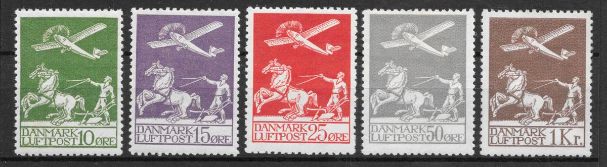 Danmark 1925 - AFA 144-46+181-82 - ustemplet