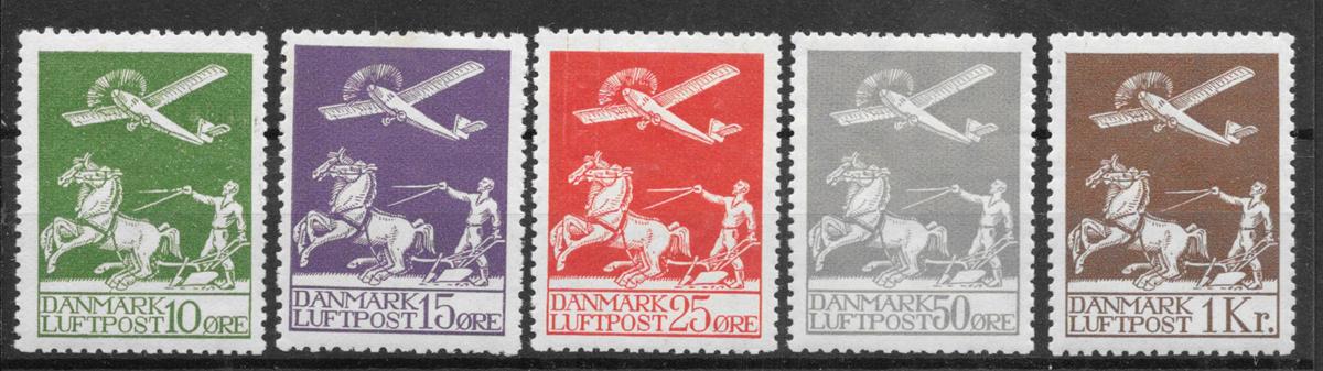 Danmark 1925 - AFA 144-46+181-82 - postfrisk