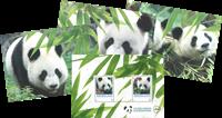 Netherlands - Panda - Mint souvenir sheet 2v and postcards
