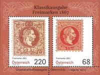 Østrig - Klassiske frimærker 1867 - Postfrisk miniark