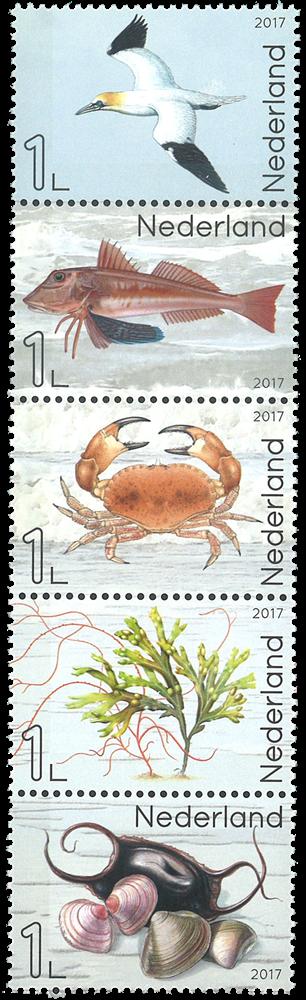 Holland - Nordsøens dyreliv - Postfrisk sæt 5v