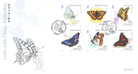 Jersey - Butterflies/China - First Day Cover