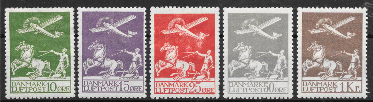 Danmark 1925 - 144-146+181+82 - ustemplet