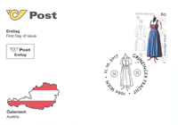 Østrig - Grinzinger folkedragt - Førstedagskuvert