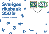 Sverige - Nationalbanken 350 år - Førstedagskuvert