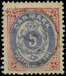 Danmark 5 øre rød/blå 1875,AFA nr.24-stemplet