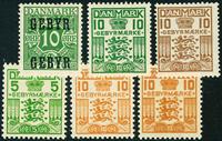 Danmark 1923-34 Gebyr 1-5a postfrisk