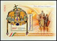 Ungarn - Grundloven - Postfrisk miniark med ægte guld og krystaller     folder