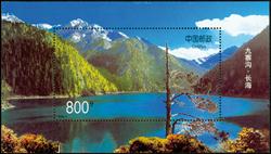 Kina - Jiuzhaigou Den lange Sø - Postfrisk miniark