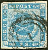 丹麦- 1854年。 面值2S蓝色