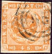 丹麦- 1854年 面值4S棕色