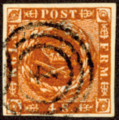丹麦-1858年。 4S棕色