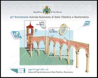 San Marino - 30 års jubilæum - Postfrisk miniark