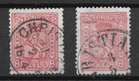 Norge 1867 - AFA 15+15a - stemplet
