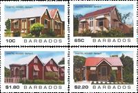 Barbades - Chattel Houses - Maisons en bois - Série neuve 4v