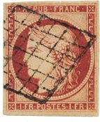France - 1849 -  Y&T 6, cancelled