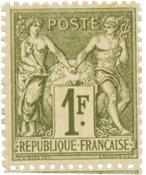 Frankrig 1876 -  YT 72 - Ubrugt, minimale rester