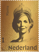 Netherlands - Queen Maxima gold stamp - Mint stamp in box