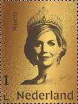 Holland - Dronning Maxima Ægte 24 karat guld - Frimærket indkapslet i blister og leveres i skrin. Oplag 1000 stk.