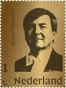 Pays Bas - Willem Alexander timbre en or 24 carats - Timbres en blister et écrin, tirage 1000 pcs