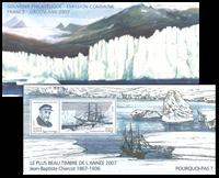 France - Expédition polaire Jean-Baptiste Charcot - Pochette avec bloc-feuillet gravé par Martin Mörck