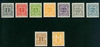Danmark - 9 porto- og gebyrmærker - Postfrisk