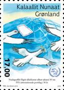 50-året for FN's postdag - Postfrisk - Frimærke