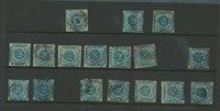 Danmark - 1854, parti med 2 skilling blå
