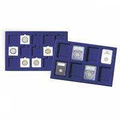 Bandeja para 35 monedas de 38 mm Ø, azul, paquete de 2