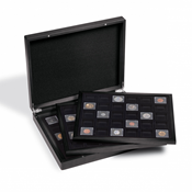 Coffret numismatique VOLTERRA TRIO pour 3x 30 caps. QUADRUM Mini, 38 x 38 mm, noir/noir
