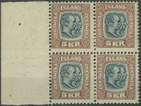 Danmark - 1907, 5 kr. dobbelthoveder blågrå/brun
